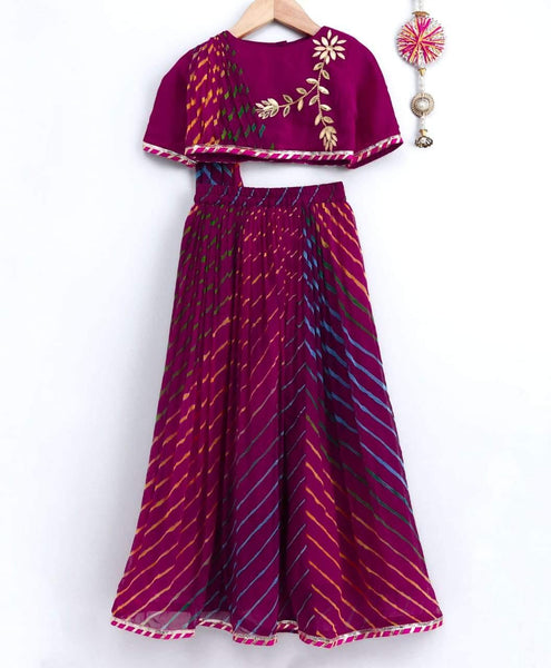 Multi Color One Side Drape Top with Lehenga