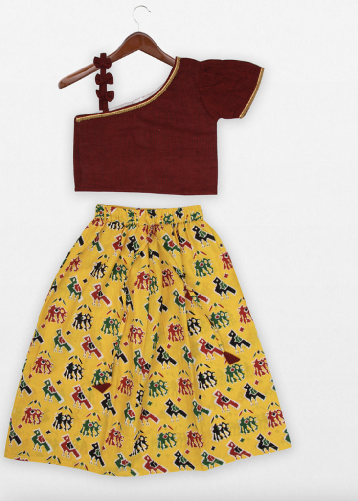 MAROON TOP & PRINTED COTTON SKIRT - Indie Project Store