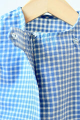 Happy as a Clam' Big button Tee in Blue checks