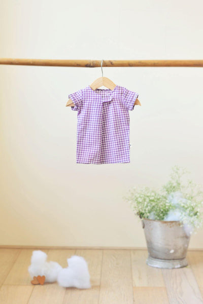 Happy as a Clam' Big button Tee in Lavender checks - indieprojectstore