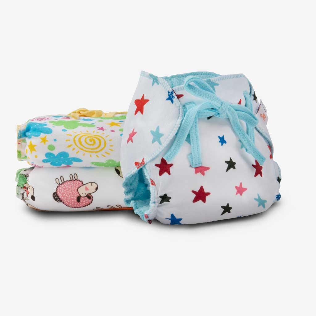 Superbottoms Dry Feel Langot - Pack of 3, Printed - Organic cotton padded langot with gentle elastics & a SuperDryFeel(TM) Layer on top