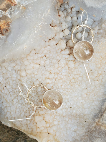 Rutilated Quartz Threader Earrings