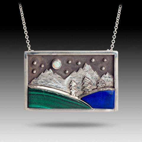 Mountains with Lapis & Malachite Pendant