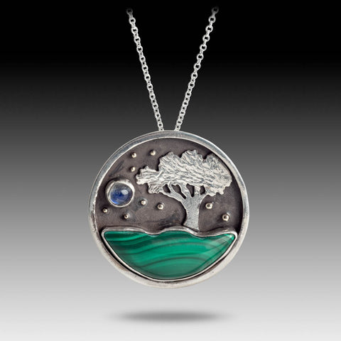 Malachite Nature Scene Pendant