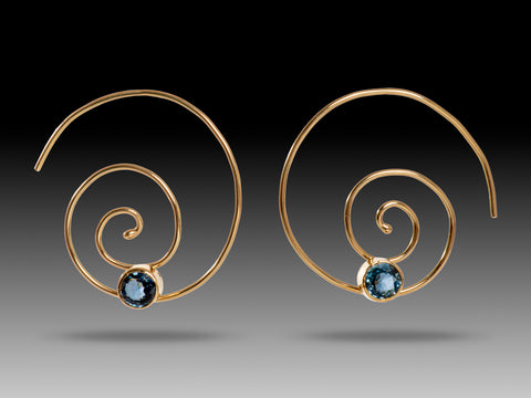 14K Gold Blue Topaz Spiral Threaders