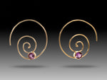 14K Gold Amethyst Spiral Threaders