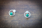Hammered Circle Gemstone Studs