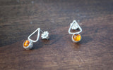 Hammered Triangle Gemstone Studs