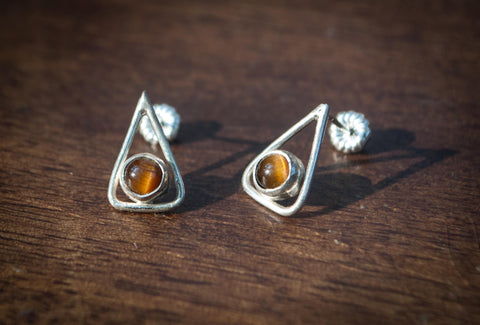 Triangle Gemstone Studs
