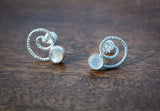 Textured Spiral Gemstone Studs