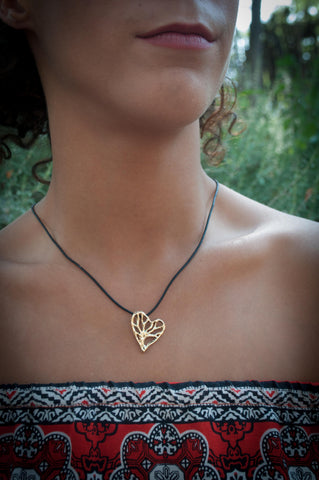 14K Gold Tree of Life Heart Pendant
