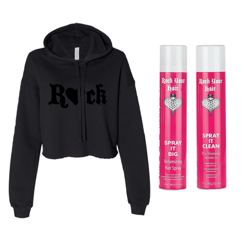 Black R💖CK Crop Hoodie + Spray It Big Hair Spray and Dry Shampoo