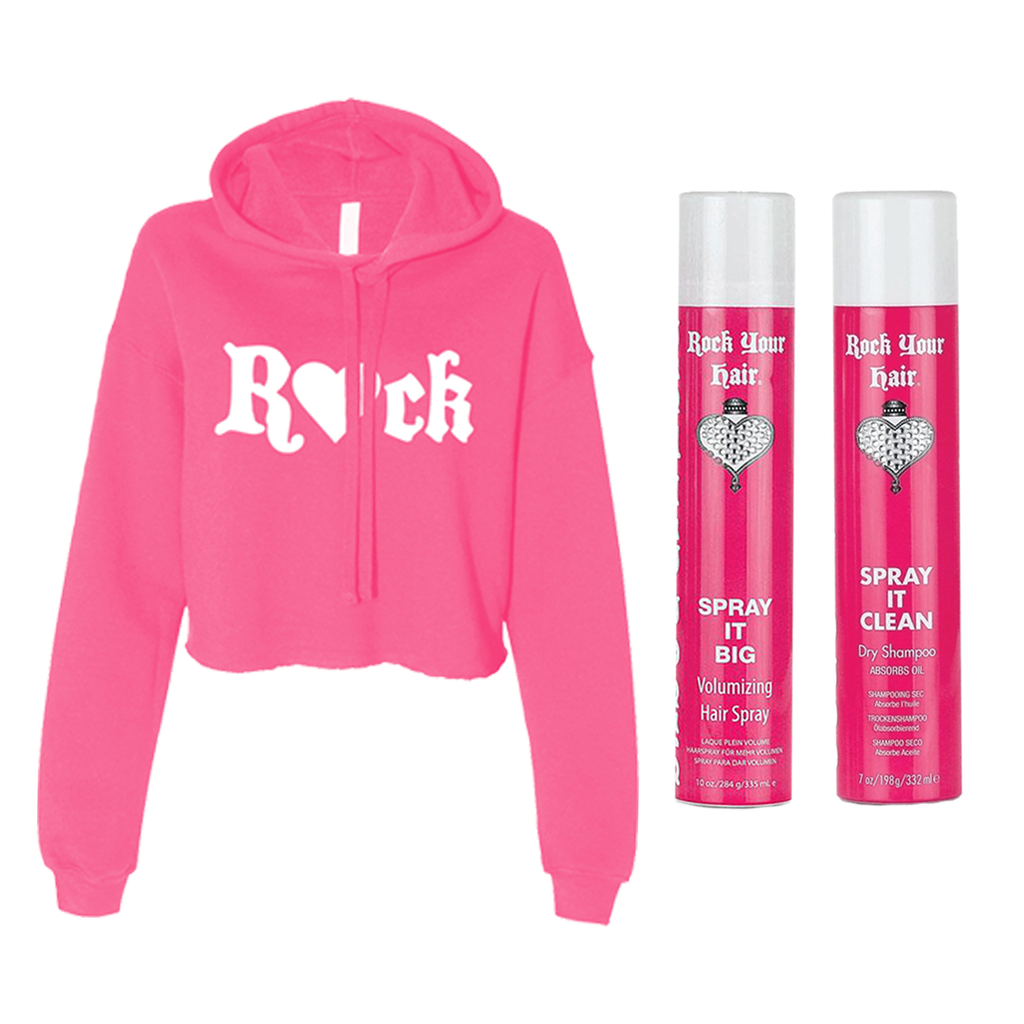 Pink R💖CK Crop Hoodie + Spray It Big Hair Spray and Dry Shampoo