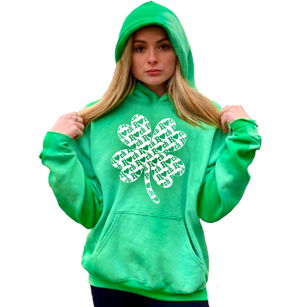 Green with R💖CK Shamrock (St. Pattys) Hoodie **Ships on 3/8**