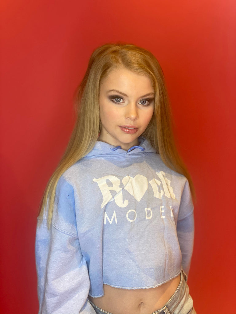 Sky Blue Acid Wash R💖CK Model Hoodie