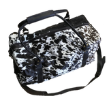 Hair on cowhide duffle bags