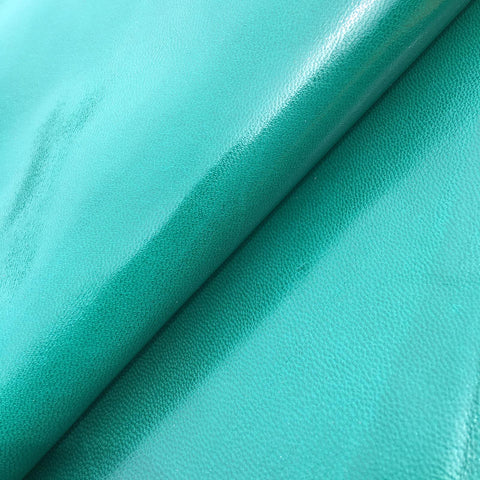 Glossy green italian full aniline leather