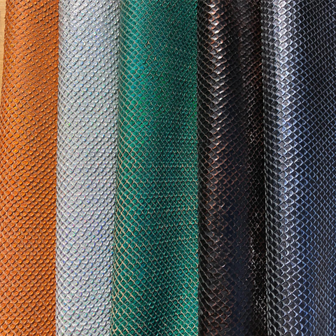 Italian colored leather with scaled texture