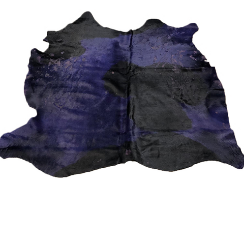 Hair on cowhide acid washed dyed purple