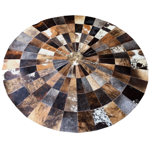 Round hair on cowhide rug with felt backing