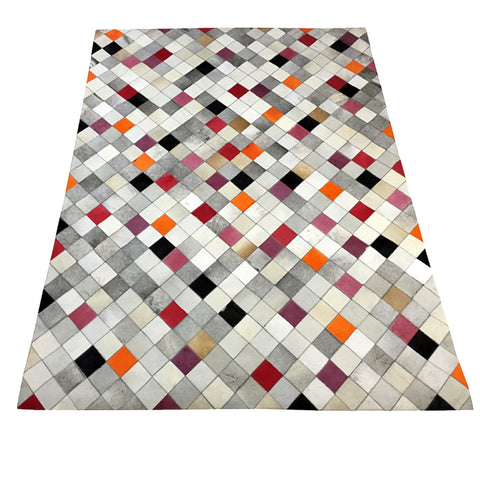 Hair on hide geometric pattern rug