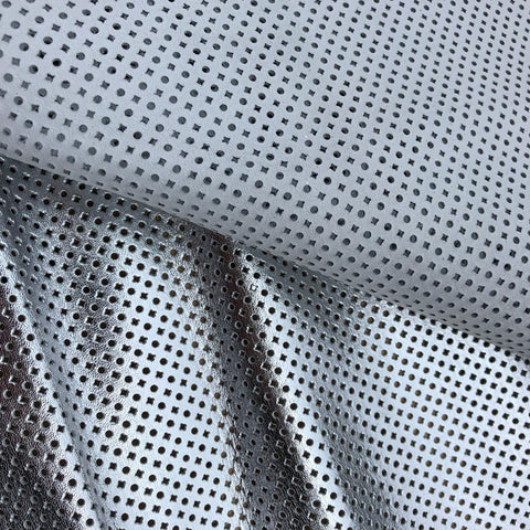 Metallic silver italian goat perforated leather