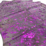 Metallic purple acid wash cowhide