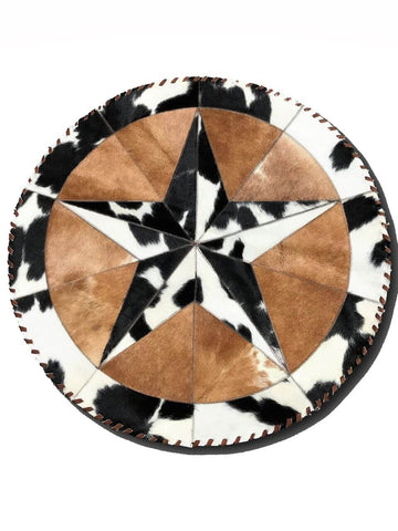 Star Round Hair on Cowhide Area Rug