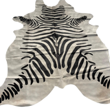 Zebra print on white cowhide