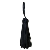Set of three black leather tassel with braided head