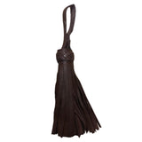 Chocolate brown leather tassel with braided head
