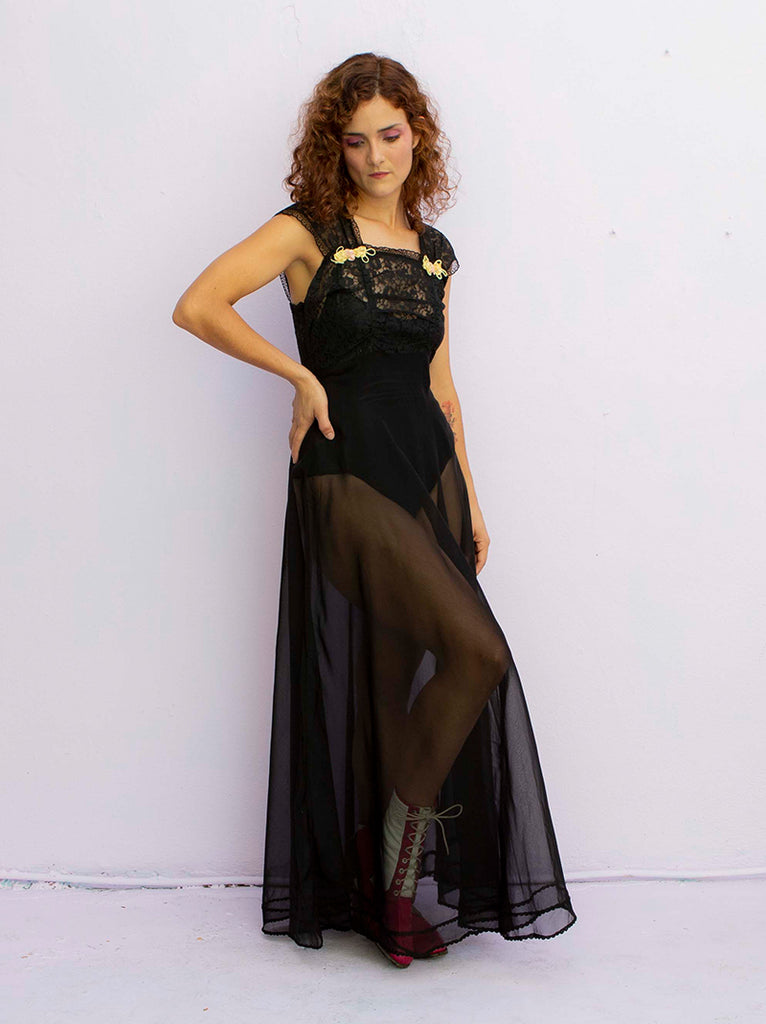 Late 1940s sheer black night dress