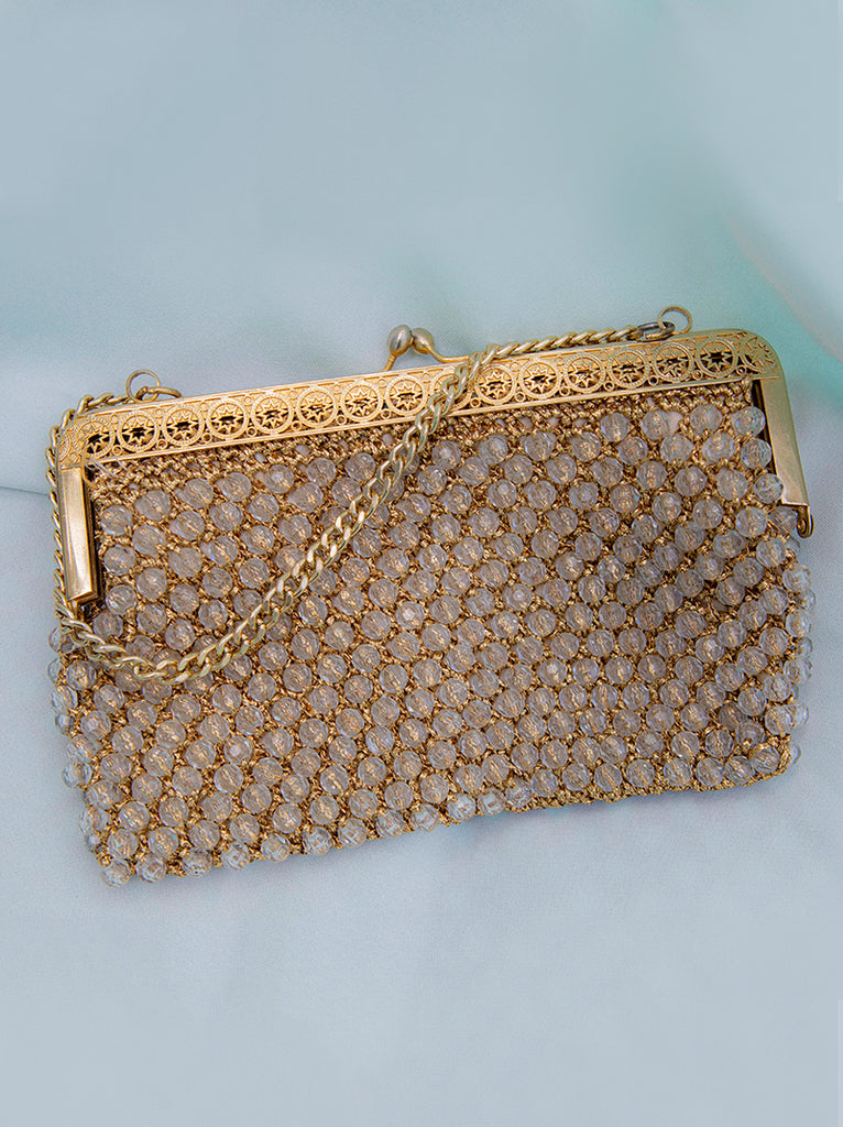 Amazing 1950's faceted beaded hand bag