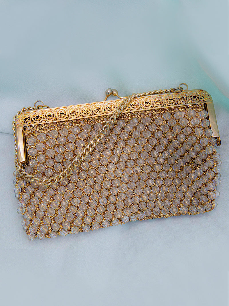 1950's gold & clear beaded purse