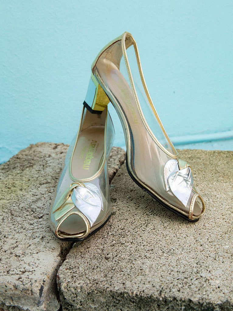 Vintage clear peep toe pumps