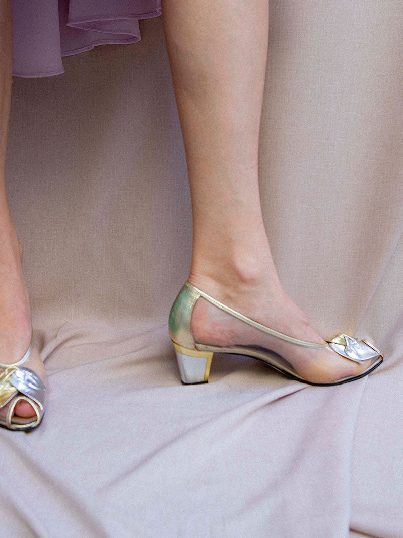 vintage 50's low heel clear pumps with silver and gold details