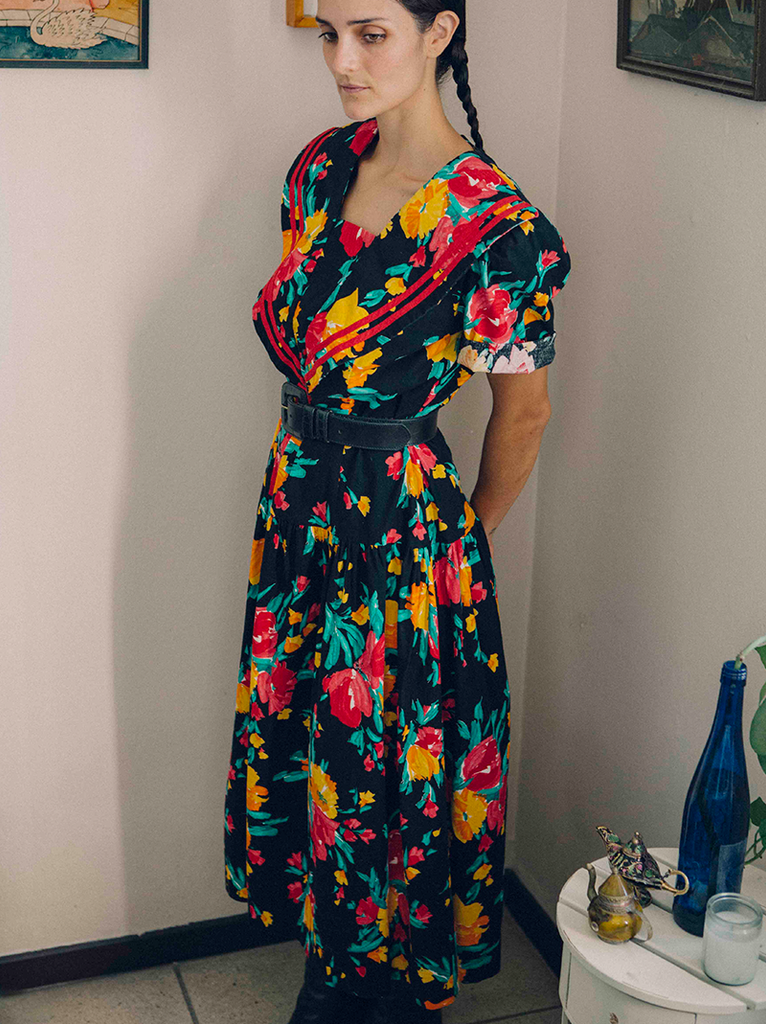 1980's Sailor Style Flower Print Dress