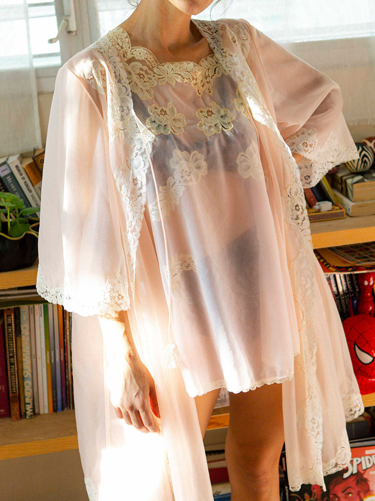 50's-60's night gown with cover up
