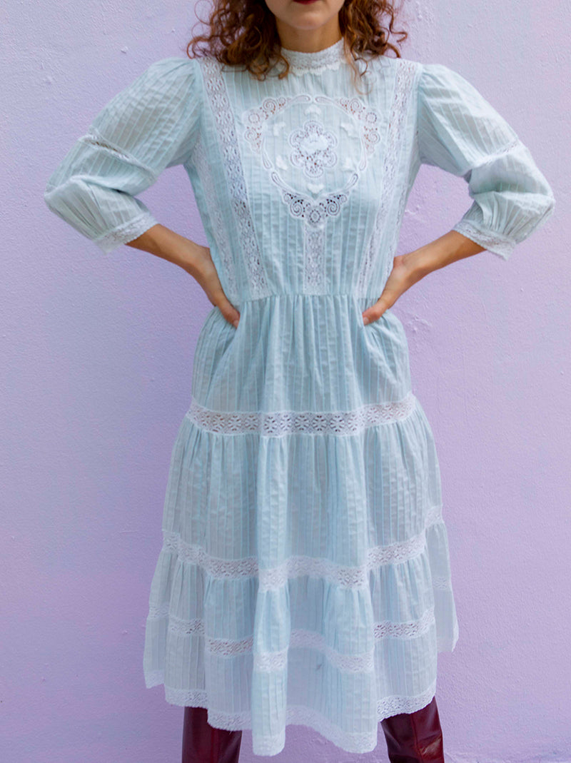 Vintage handmade in PR mundillo-prairie style dress