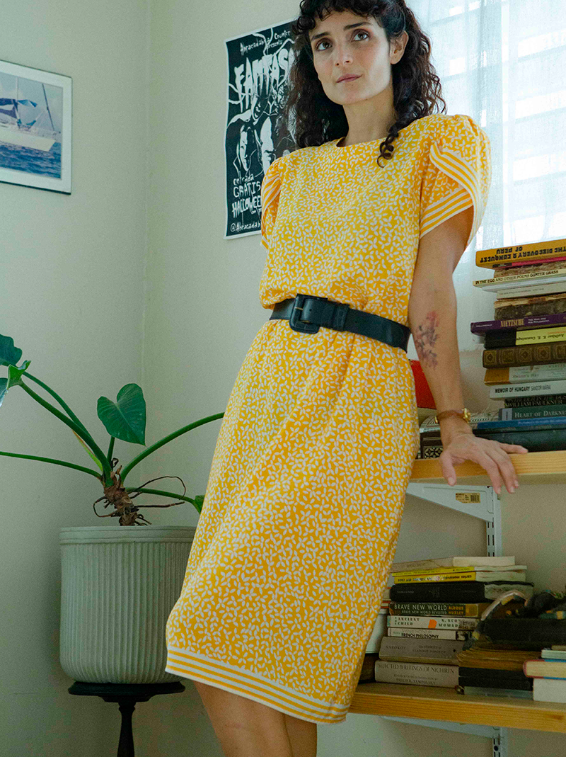 40s style light yellow flowers dress