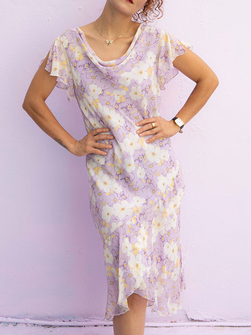 Cutest 90's pastel purple floral slip dress