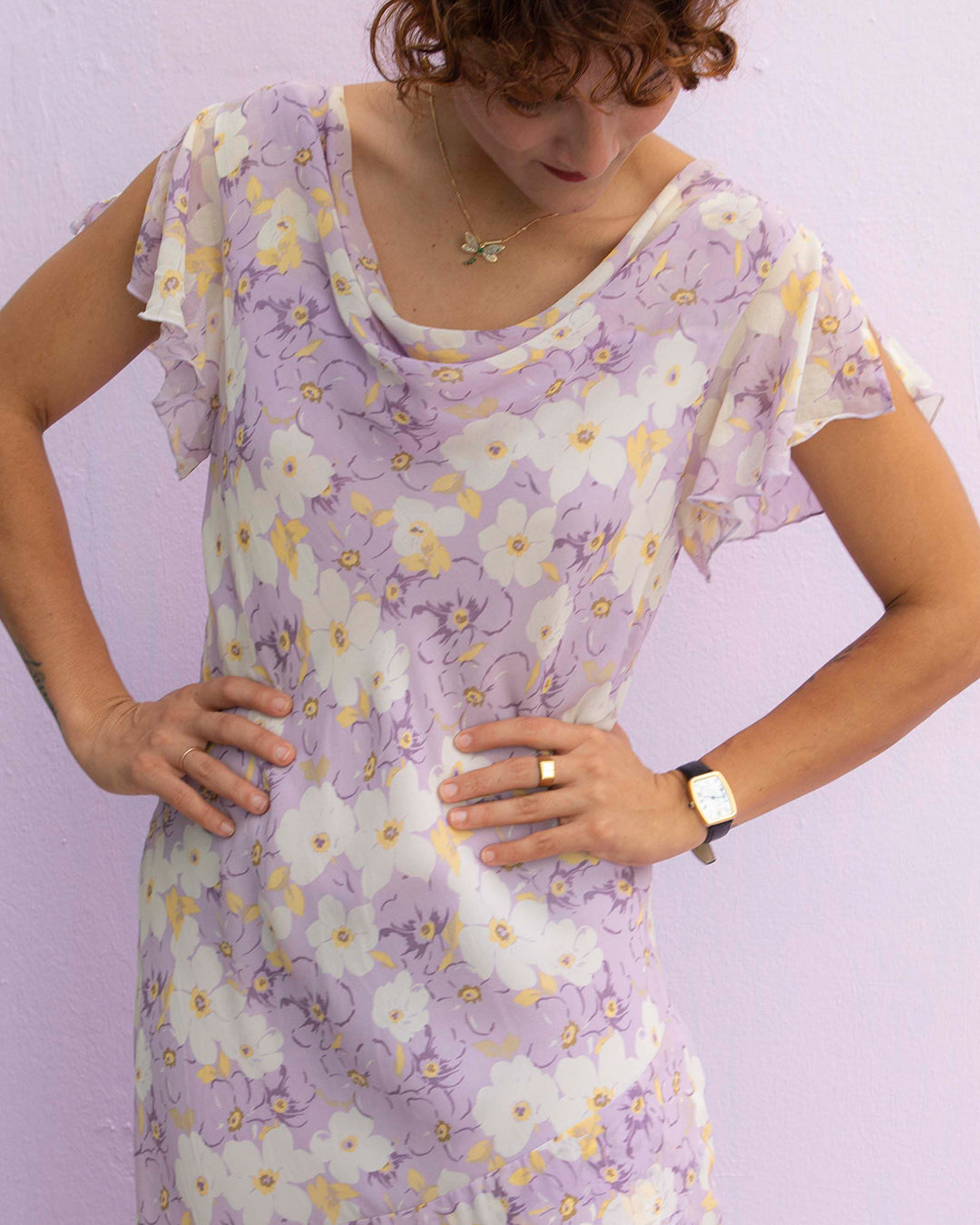 Beautiful vintage 1990's floral purple slip dress