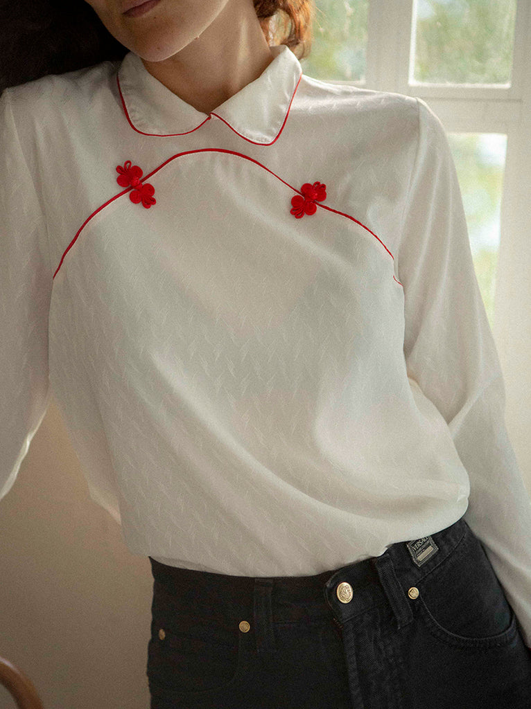 White semi sheer blouse