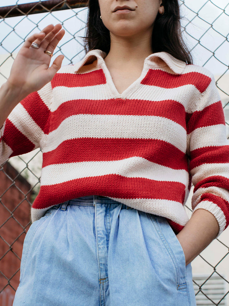 White 'n red striped sweater
