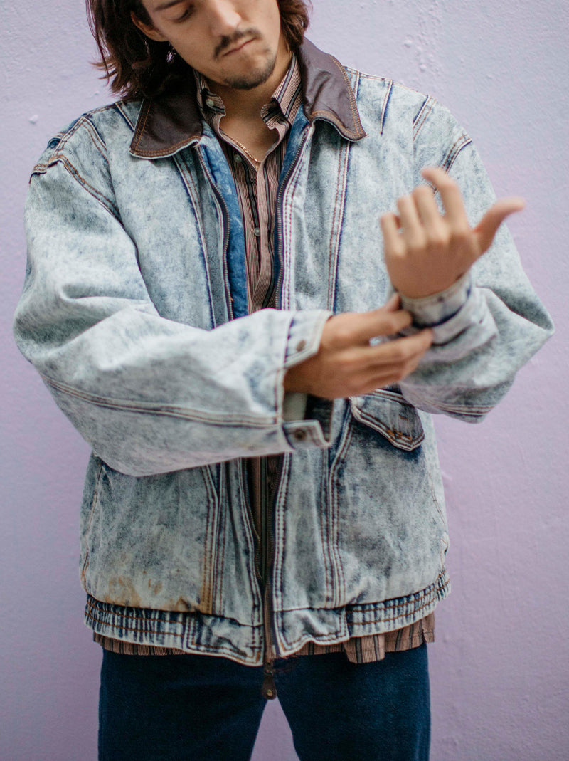 Acid wash denim bomber jacket