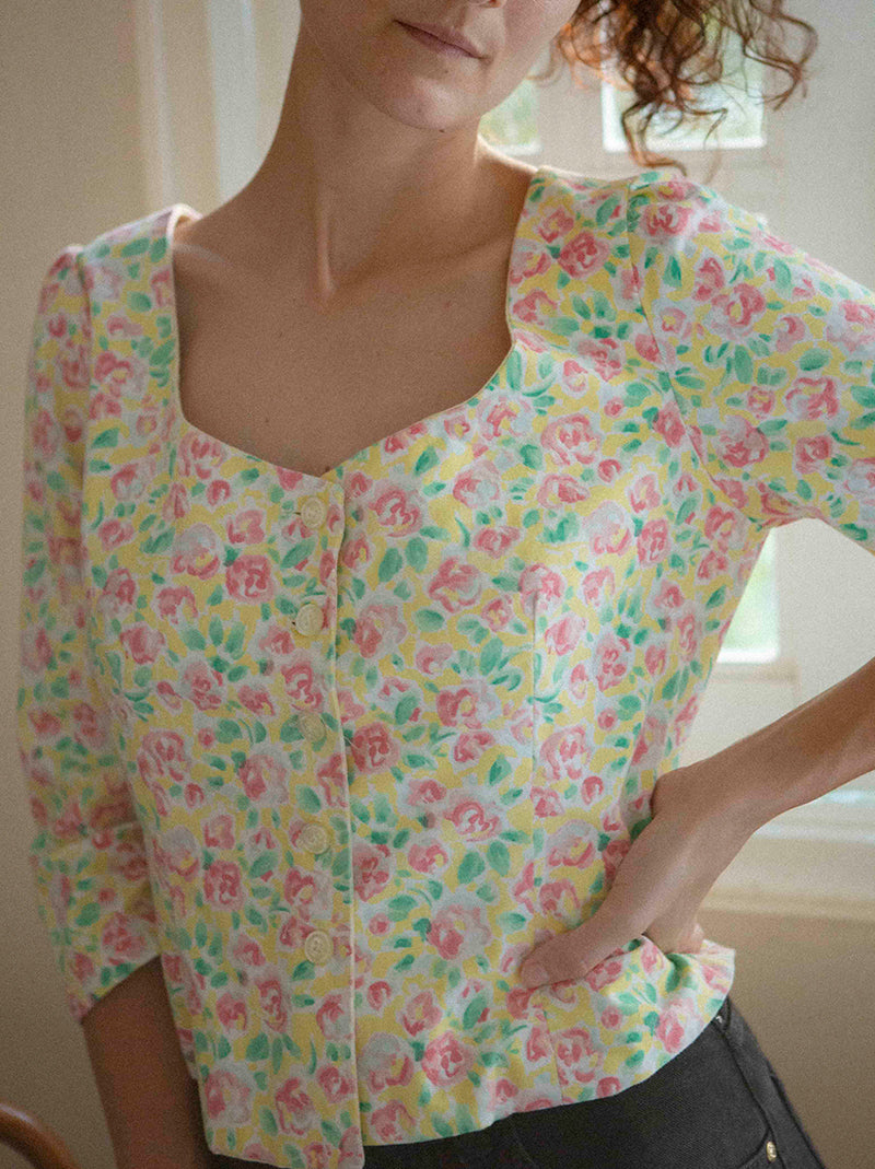 Custom made vintage flower top