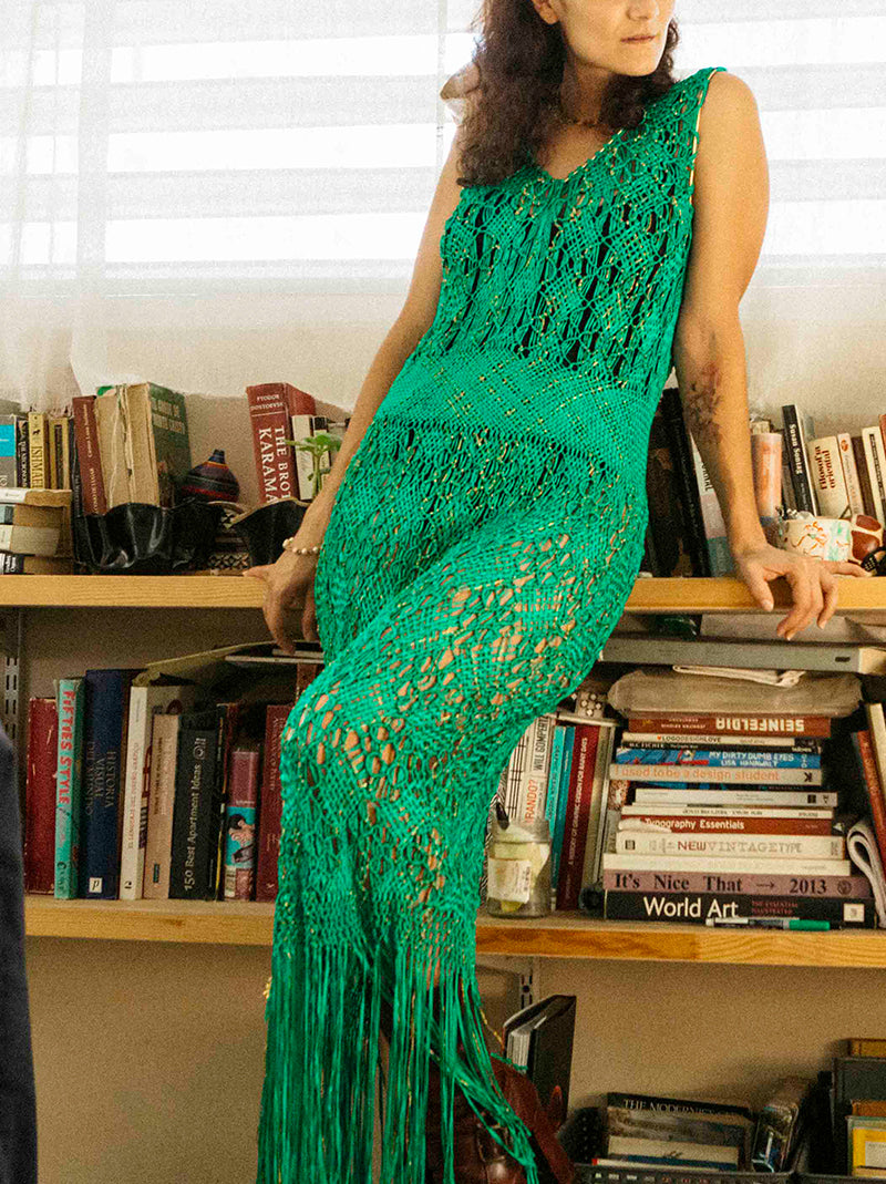 Vintage circa 1970's emerald green hand made dress