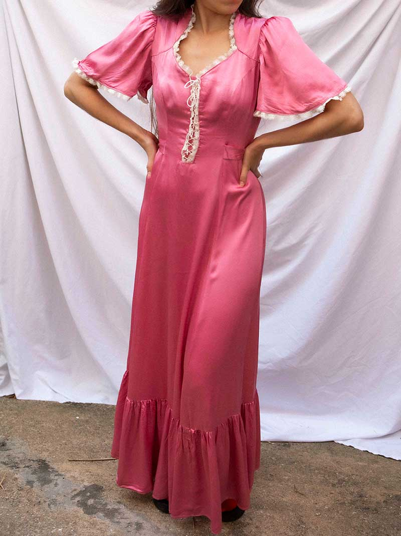 Vintage super soft satin rose gown