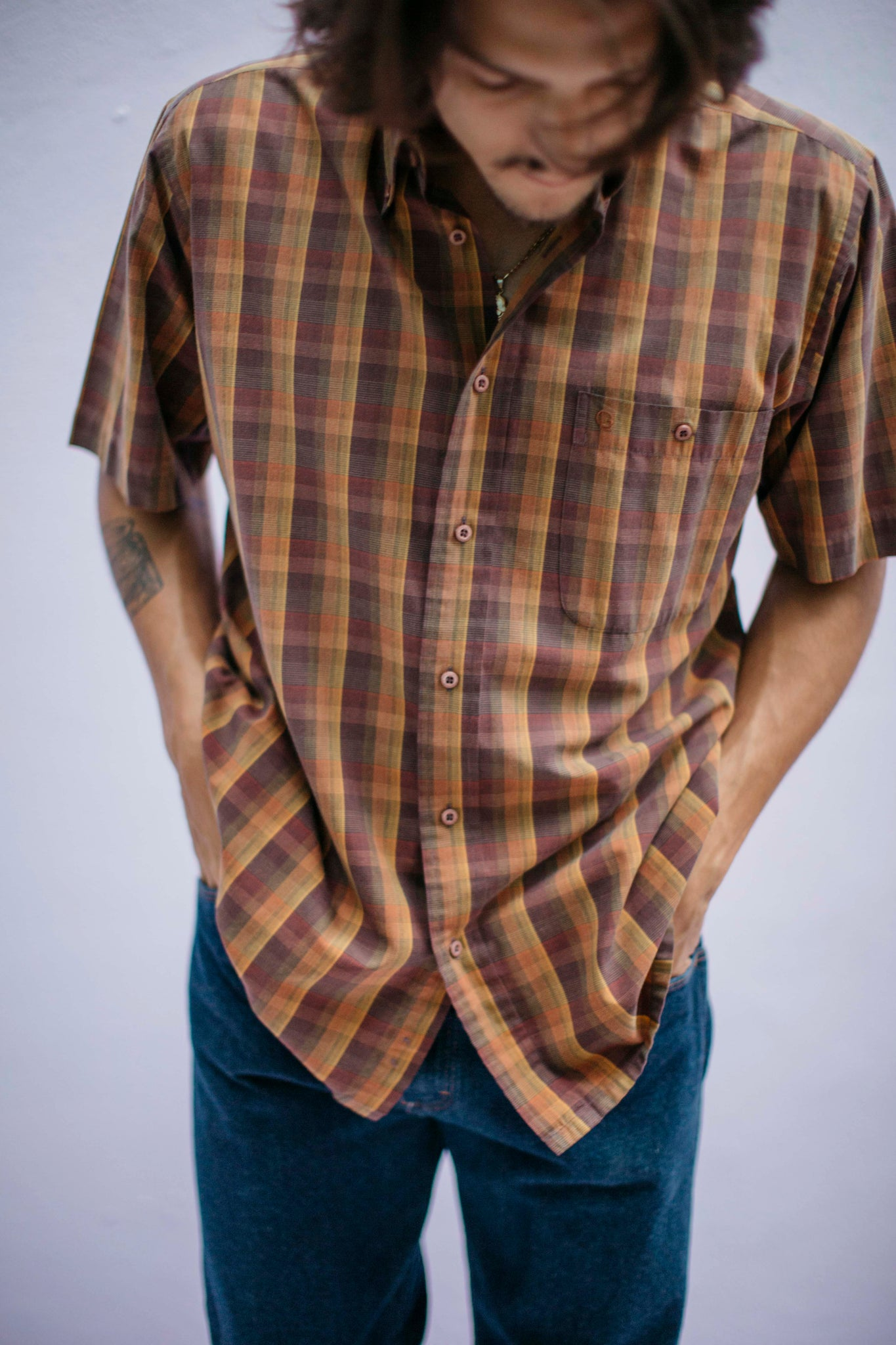 Men's fall plaid shirt