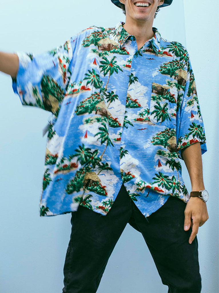 Mens blue oversized hawaiian shirt